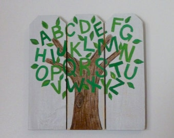 ABC Tree Hand Painted Sign