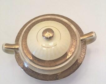Vintage 18 Carat Gold Covered Sugar Bowl~ Warranted 18 Carat Gold~  Yellow Sugar Dish Sugar Bowl