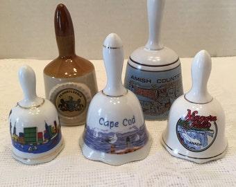 Set of Five Bells ~ Amish Country ~ Pennsylvania ~ Cape Cod ~ New York ~ Niagara Falls Canada ~ Souvenir Bells ~ Bell Collection ~ Vintage