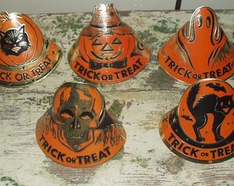 5 Vintage HALLOWEEN Paper Party Hats, Decorations, Skeleton, Ghost, Black Cat, JOL, Pumpkin