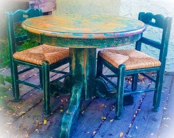 SOLD - Shabby Chic Kids Table, green, vintage, children's table and chair set, farmhouse, pedestal table, distressed, table & chairs, matchi