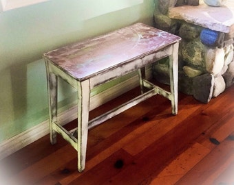 SOLD - French Country Piano Bench, shabby chic bench, white, bench seat, storage bench, side table, farmhouse, country cottage, vintage