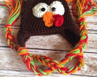 Crochet Turkey Hat, Turkey Beanie, Turkey Hat, Thanksgiving Hat