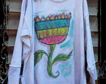 Grungy Tulip Bohemian Art Tunic Plus Size MADE TO ORDER