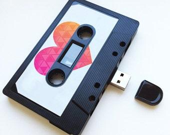 4GB/8GB/16GB  USB Mixtape - Retro Personalised- Aztec Heart Gift - Loved One, Birthday Present, Festival, Boyfriend, Girlfriend, Cute Gift