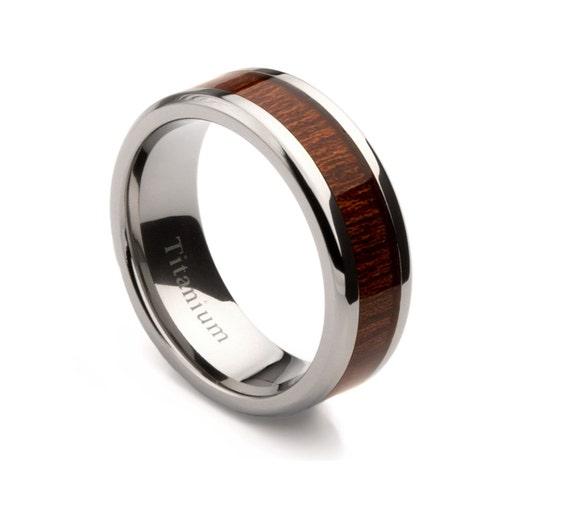titanium mens wedding band with oak wood inlay sku 4010