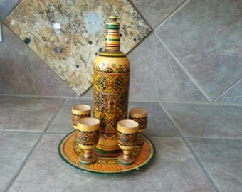 Vintage 9 Piece Baltic  Hand Made Wood Decanter Set, 5 Cups, Tray and Decanter, Beautifully Detailed Hand Painted, Excellent Condition
