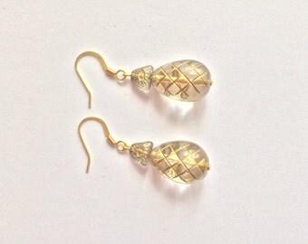 Gold Glass Earrings, Czech Glass Earrings, Bohemian Earrings