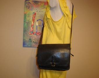 Black Leather Vintage Coach Cross Body Bag