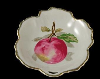 Nasco,Leaf Shaped Trinket Dish, Nut Bowl, Candy Dish, Apple Pattern