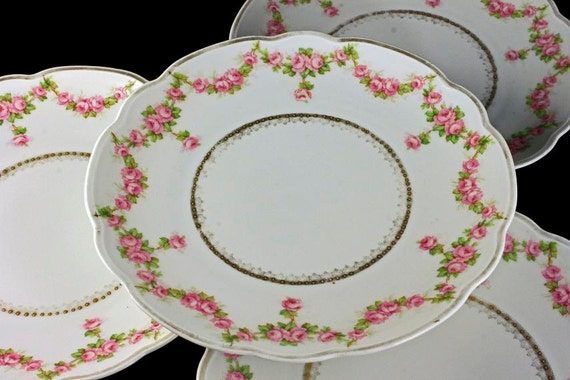 Antique Salad Plates, M & Z Austria, Pink Rose Swag Pattern, Gold Trim, Set of 4