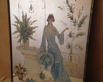 Mirror drawing woman Vintage old Rare!