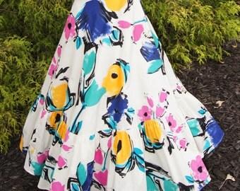SALE! Girls Maxi Skirt, Girls Long Skirt, Girls Circle Skirt, Girls Floral Skirt, Girls Maxi Dress