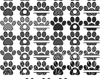 Paw SVG, Monogram Frames for Vinyl Cutters, Paw Print Svg, Paw Monogram Frames, Paw Split Monogram,  svg, eps,ai, dxf, png, Paw Cut File