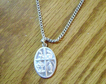 PEWTER CATHOLIC 4 way call a PRIEST necklace costume jewelry made in italy