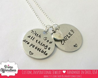 With God All Things Are Possible, , Matthew 19:26, Personalized Bible Verse Necklace, Hand Stamped Scripture Necklace, Christian Necklace