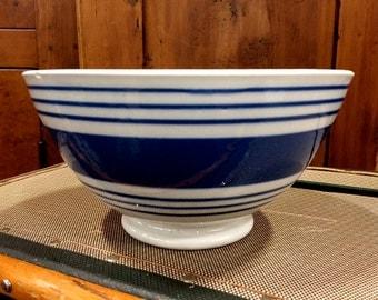 Vintage Blue Striped Bowl Ceramic Pottery, Blue Striped Stoneware Bowl,