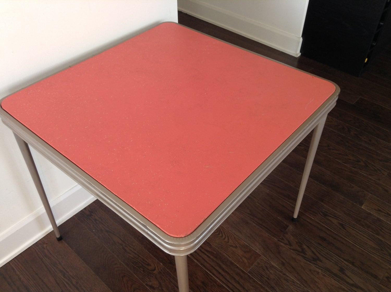 mid century metal folding table 1950s folding card table. Black Bedroom Furniture Sets. Home Design Ideas