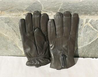 Vintage Unisex Leather Gloves / Dark brown Leather Gloves /   Rockers Genuine Leather Gloves /Unisex Leather Gloves / Motorcyclists Gloves