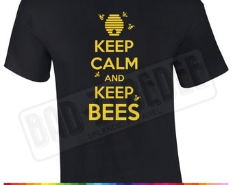 Keep Calm And Keep Bees T Shirt | Bee Keeping Beekeeper Apiarist Honey Gift | Free Delivery to UK Customers | Various Colours Available