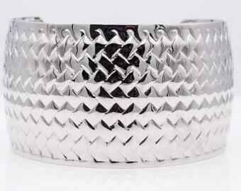 Stainless Steel Herringbone Design Bangle