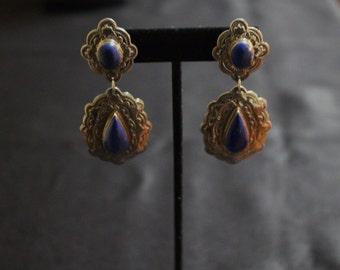Sterling and Lapiz drop earrings