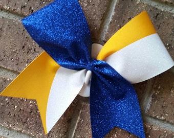 Cheer bow. Royal blue. Glitter. Kick swish. Kick Switch.