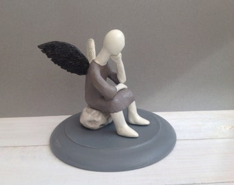 Ceramic statuette , Clay sculpture, Figure, Angel, Black, White,  Made to order