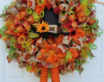 Thanksgiving Wreath - Thanksgiving Door Decor -  Thanksgiving Door Wreath - Thanksgiving Decor - Thanksgiving Turkey Wrea