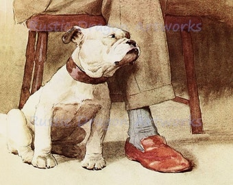 "Cecil Aldin  ""Mans Best Friend""  c1913 Reproduction Digital Print Wall Hanging Animal Bulldog Print"
