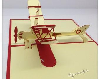 3D Pop Up Biplane Card