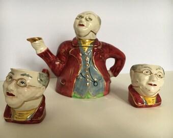 Vintage Lingard pottery MR.Pickwick Teapot set