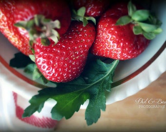 Strawberries in Bowl, Greeting Card, Blank Inside, Fine Art Photography, Food, Kitchen Art, Home Decor