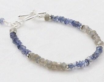 Blue, Gray, Iolite, Labradorite, Sterling Silver Bracelet