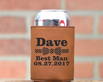 Leather Wedding Can Coolers. Personalized Can Coolers. Wedding Party Favors. Bow Tie. Custom Leather Can Cozie. Beer Cozy. Beverage Cooler