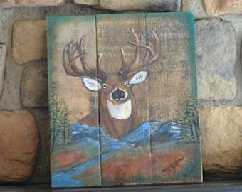 Rustic painting, Deer painting, reclaimed wood art, rustic wall art, cabin art