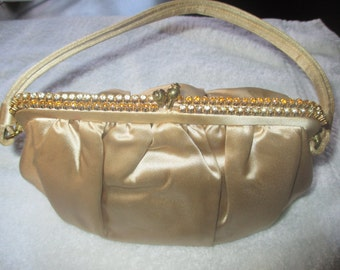 Fabulous Vintage 1960's Satin Evening Bag with Rhinestones