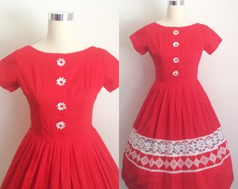 Vintage 1950s Dress | 50s Cotton Dress | 1950s Cherry Red Dress Size XSmall/Small | 50s Red Dress with Daisy Buttons