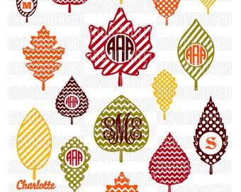 Fall Leaves SVG Cut Files - Monogram Frames for Vinyl Cutters, Screen Printing, Silhouette, Die Cut Machines, & More