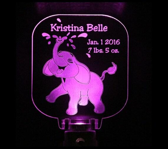 Personalized Baby Elephant Nursery Night Light By