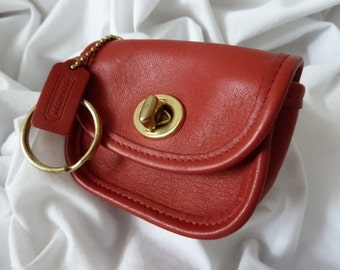 COACH Vintage Red Leather City Key Fob/Ring #7105 ~ MINT!