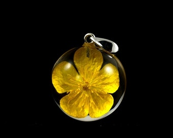 No chain pendant with real bulbous buttercup (Ranunculus bulbosus) in resin sphere with sterling silver. Sphere 2.5 cm or 3 cm. No chain.