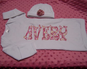 Personalized baby gown and cap