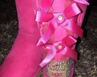 Bailey Bow UGGs, Custom UGGS, Pink Bailey Bow UGGS, Swarovski UGGS, Crystal UGGs, Embellished Uggs, Bling Uggs, Bailey Bow Tall