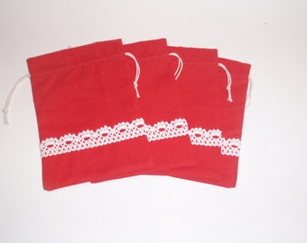 "25 Party Bags * Red Cotton Bags * Candy Bag * Drawstring Cloth Bag * Canvas Pocket * 6"" x 8"" (16 x 20 cm)"