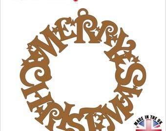 MDF Merry Christmas Wreath - Wood craft