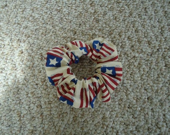 American Flag Hair Scrunchie,Ponytail Holder,Scrunchie,Hair Accessory,Red White Blue,4th of July,USA,Independence Day,Veterans Day,Flag Day