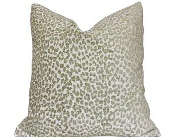 "Kravet Candice Olson Tetouan Leopard Cheetah Animal Spots Spring Green Pillow Cushion Zipper Cover, Fits 16"" 18"" 20"" 22"" 24"" Inserts"