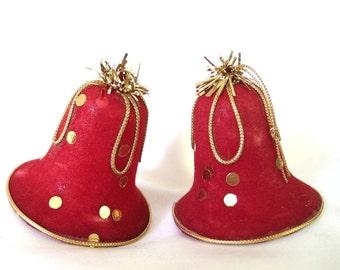 2 Vintage Mid Century Flocked Plastic Christmas Holiday Bell Ornaments