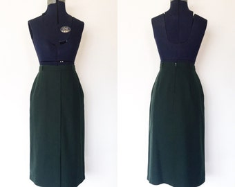1970s Forest Green Wool Pencil Skirt